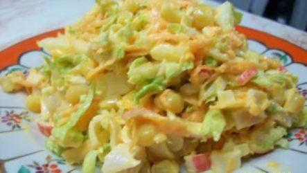 Рецепт крабового салата с капустой