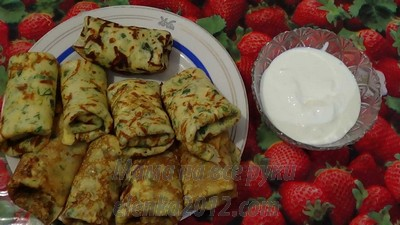 Блинчики с зеленью и сыром