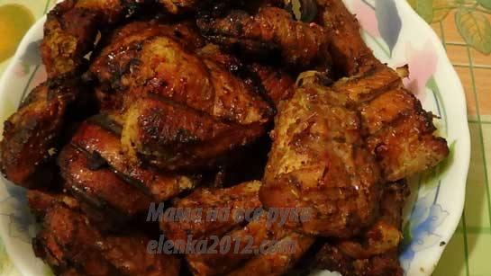 Шашлык из свинины, маринованный медом и горчицей